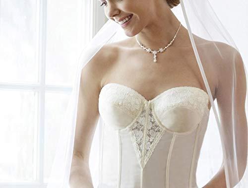 LILLY Damen Korsage mit B/ügeln Brautcorsage Braut Hochzeit Spitze Creme
