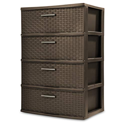 STERILITE 4-Drawer Wide Weave Tower, Espresso Frame & Drawers w/Driftwood Handles, 1-Pack (Discount Chester Furniture)