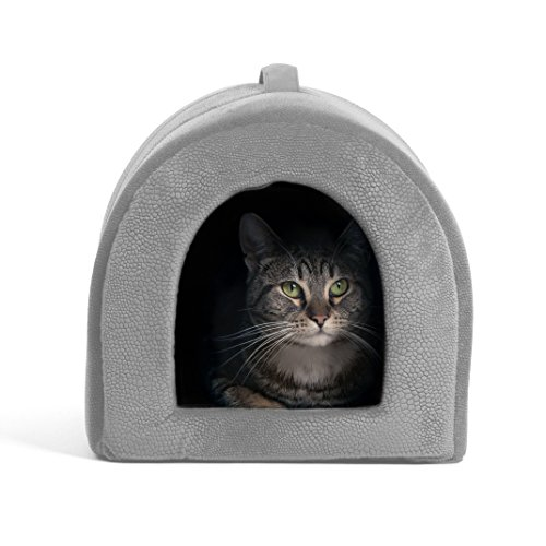 - Best Friends by Sheri Pet Igloo Hut, ilan, Gray - Cat and Small Dog Bed Offers Privacy and Warmth for Better Sleep - 17x13x12