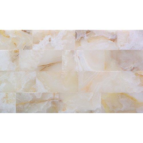 3x6 Pearl White Onyx Subway Brick Polished Tiles for Backsplash, Shower Walls, Bathroom Floors