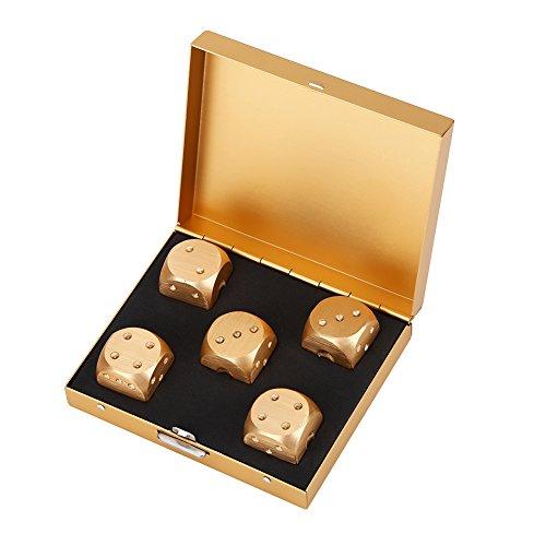 ダイス サイコロ テーブルゲーム アルミニウム合金製 スムース 繊細 高級感 5個セット 専用ケース付 家庭 エンターテインメント ゲーム道具(ゴールドスクエアボックス)