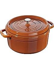 Staub 1102285 Cocotte/braadpan, rond met deksel 22 cm, 2,6 L, met matzwart email aan de binnenkant van de pot