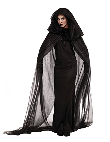 SUKIYAKI Large Velvet Cloak with Hood Women Full Length Lined Cape Witch Costume see-through Cloak Cape Outfit Costume -