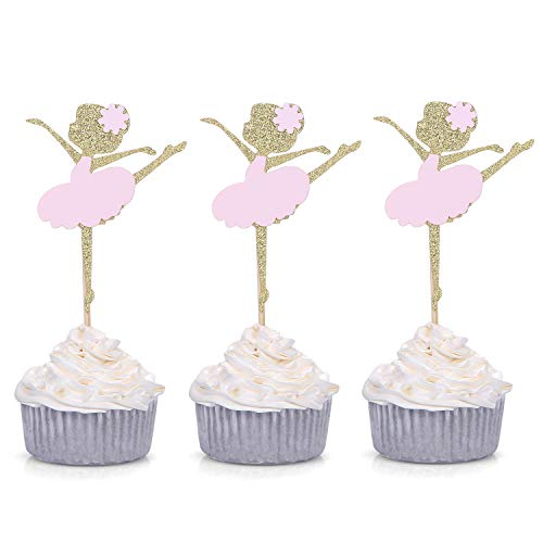 Giuffi 24 CT Gold and Pink Ballerina Cupcake Toppers (Decoration Ideas For A Ballerina Themed Baby Shower)
