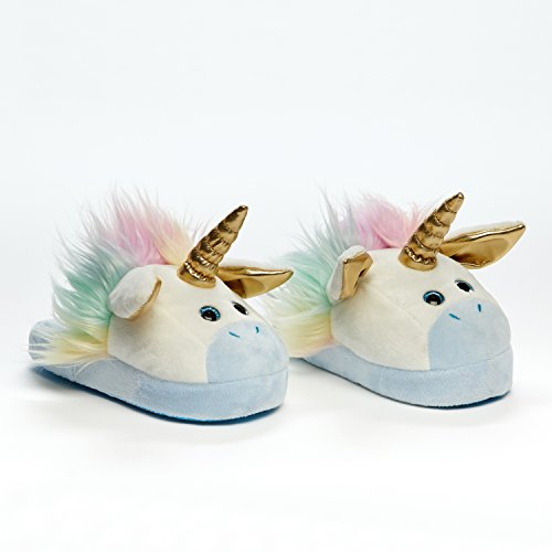Animated Unicorn Plush Slippers - Ultra Soft and Fuzzy - Ears Flap as You Walk - by Stompeez