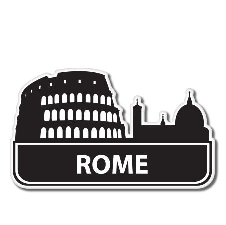 - Rome Italy Suitcase Vinyl Sticker - Car Phone Helmet - SELECT SIZE