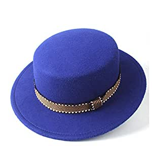 SAIPULIN-AU Men's and Women's Flat Top Cap Fedora Ms. Fascinator Casual Wild Style British Style Top Hat Fedora Hat Gentleman Daddy Church Hat (Color : Blue, Size : 56-58)