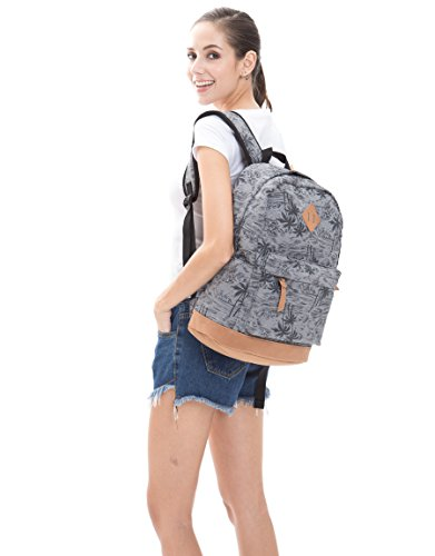 8cf363cb28629 SAMGOO Unisex Leinwand Einfache Rucksäcke Daypack mit 15.6 Zoll Laptopfach  Freizeitrucksack Schulrucksack (Grau Kokosnussbäume)