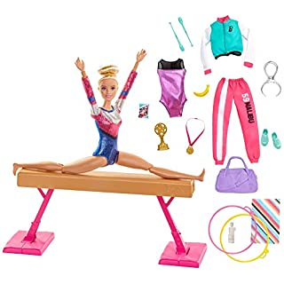 Barbie Gymnastics Doll and Playset with Twirling Feature, Balance Beam, 15+ Accessories