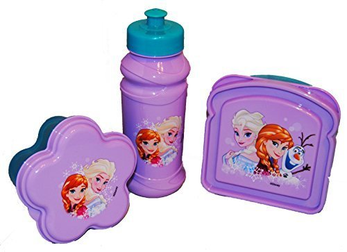 Disney Frozen Flower-shaped Snack Container, Sandwich container, and Water Bottle