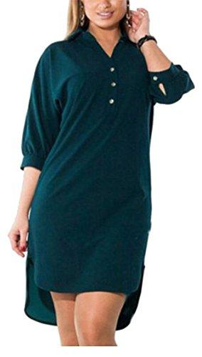 Jaycargogo Femmes Bouton Manches Casual Demi-couleur Vers Le Bas Sur La Taille Solide Robe Irrégulière Mini Chemise Verte