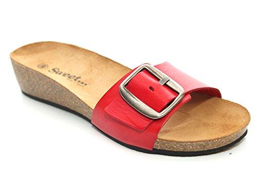 L11209D - Sandales plates en cuir - petit talon compensé - boucle - rouge
