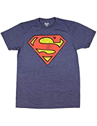 Superman Logo Navy Heather T-Shirt Officially Licensed