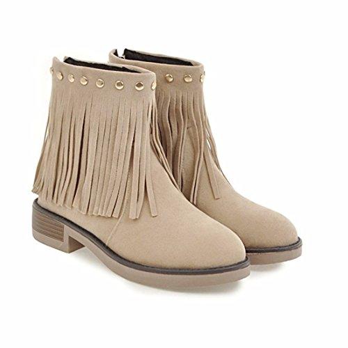 low head Su size boots Beige short sweet zipper female tube Fall heel 5Eqznw4