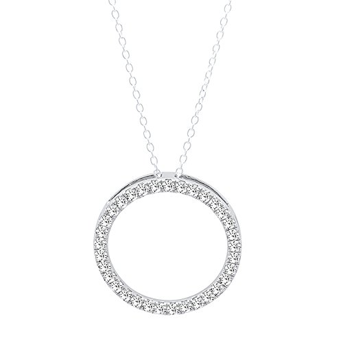 Dazzlingrock Collection 0.25 Carat (ctw) 14K Round White Diamond Circle Pendant 1/4 CT (Silver Chain Included), White Gold (Necklace White Engagement)