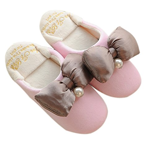 E.a@market Womens bowknot Plush Slipper Home Cute Princess Style Slipper Pink QOZXSjj