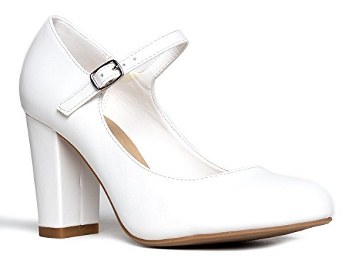 Adams Heels Round Comfortable Pu Chunky Mary J Jane Skippy Pumps Block White Toe Cute ad66Cqw