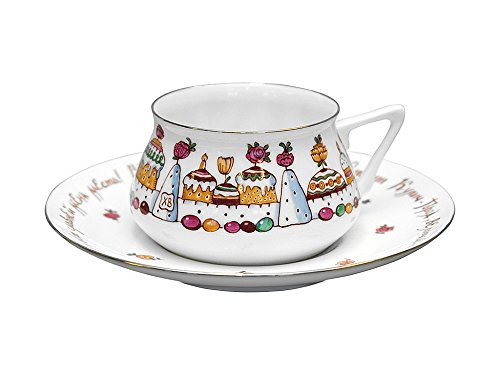 - Easter Cake & Eggs Bone China Cup Bilibina 6 fl.oz/180ml Lomonosov Imperial Factory