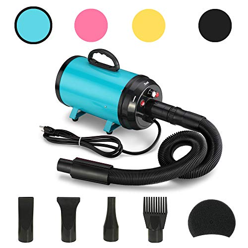 JY QAQA PET 3.2 Hp Pet Grooming Hair Dryer/Heater/2400w High-Power Stepless Adjustable Speed Temperature Motor 4 Different Nozzles(Blue