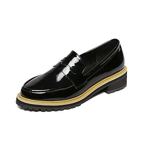 Womens Chunky Heel Oxfords Shoes Flat Slip On Patent Comfort Bean Shoes Black