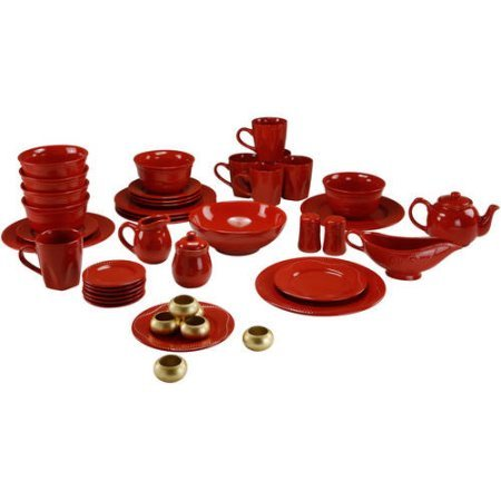 Christmas Tablescape Decor - Nova round red beaded 45-pc dinnerware set-service of 6 with 7-pc serveware set and a 6-pc set of gold napkin rings by 10 Strawberry Street