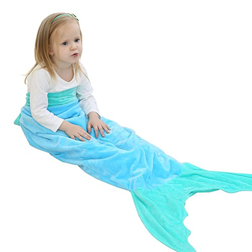 Codream Mermaid Tail Blanket Super Soft Flannel Sleeping Blanket Bag for Kids Children 56In (Blue+Green) (Bag Blue Green)