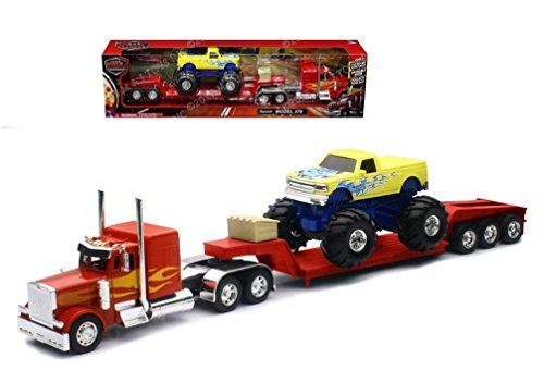 (New Ray New 1:32 NEWRAY Truck & Trailer Collection - RED Peterbilt Model 379 LOWBOY with Monster Truck Diecast Model Toys)