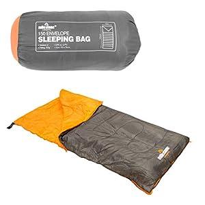 Milestone Camping Insulation 26700 Single Envelope Sleeping Bag   2 Season   Full Length Dual Zip   Grey & Orange…