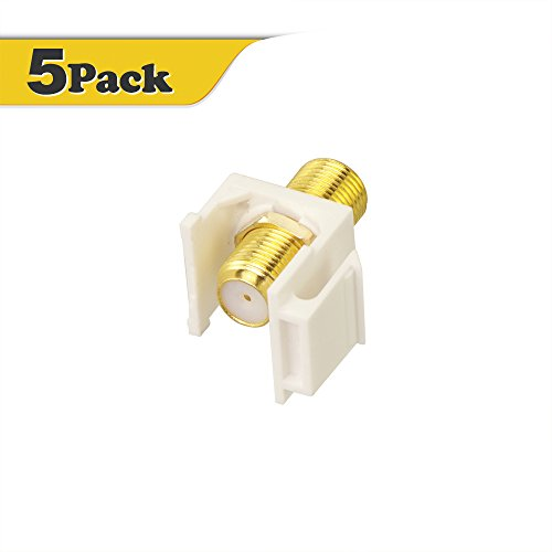 VCE (5 Pack) Gold-Plated RG6 Keystone Jack Insert,F Type RG6 keystone Connectors