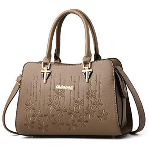 main dames capacité Kaki de de Sacs cuir main broderie de à de bandoulière à Sacs grande sacs élégants des en femmes d'épaule à pour YBfq8ngxR