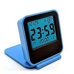 Aiweasi Creative Cute Multifunction Mini Folding Square Travel Electronic Digital Alarm Clock (Blue) Great Gift for Kids