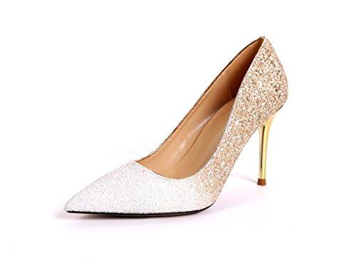 La Minces Chaussure Zhudj Demoiselle Talons Le Gold L'argent Mariée Fait Cristal 7cm Mince Des Et White Dans Mariés Femme Hauts Brille De Superficiellement Unique 6xO0wq6