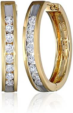 14k Gold Channel-Set Diamond Hoop Earrings (1/2 cttw, H-I Color, I1-I2 Clarity)