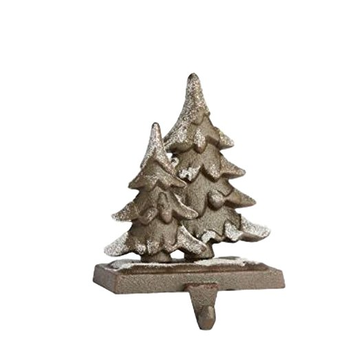 Cast Iron Self Standing Snowy Pine Trees Holiday Stocking Holder