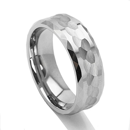 King Will 8mm Men Tungsten Carbide Ring Hammered Design Wedding Band Polished Beveled Edge Multi-faceted(8.5)