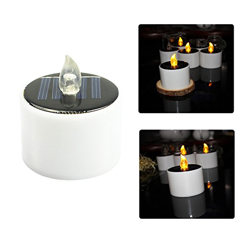 CTKcom 4 Pcs LED Solar Lights Solar Power LED light Candle Electric Lights Warm White Flickering Flameless LED Light Candle Lamp Nightlight for Home Outdoor Camping Emergency Party Birthday Wedding by CTKcom (Image #7)