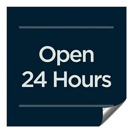 36x36 Open 24 Hours Basic Navy Heavy-Duty Industrial Self-Adhesive Aluminum Wall Decal