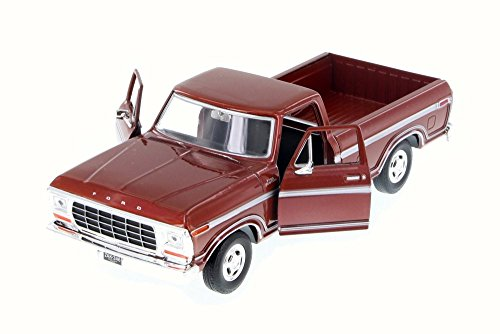 Motor Max 1979 Ford F-150 Custom Pickup, Burgundy 79346AC/BR - 1/24 Scale Diecast Model Toy Car