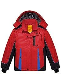 Wantdo Boy's Fleece Lined Ski Jacket Hooded Waterproof Windbreaker Winter Coat