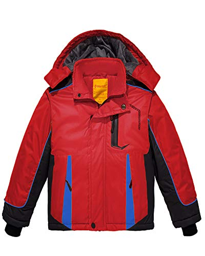 Wantdo Boy's Waterproof Fleece Ski Jacket Hooded Winter Puffer Coat Red 10/12