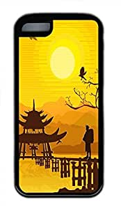 Hot iPhone 5C Customized Unique Print Design Oriental Background New Fashion Tpu Black iPhone 5C Cases by lolosakes