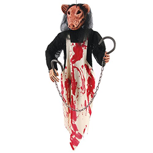 Fun World Unisex-Adult's Butcher Pig Hanging Deco 36 In, Multi -