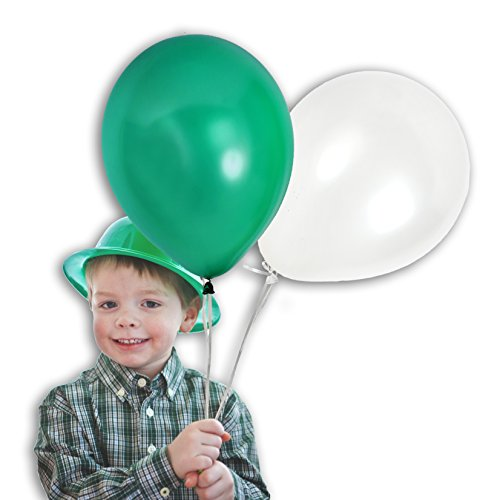 Treasures Gifted White Green Shamrock Balloons St Patrick Birthday Graduation Decorations Christmas Kids Party Supplies St Pattys Day Photo Booth Backdrop Pack of 100 and (Ivory Leaf Chandelier)