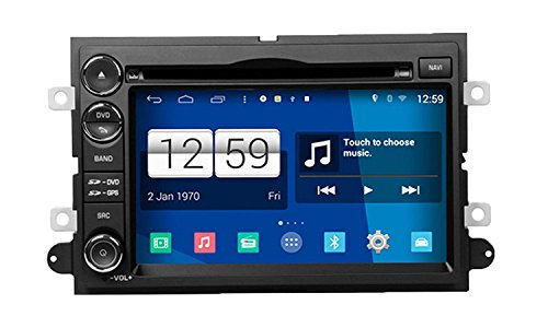 RoverOne Android 4.4.4 In Dash Car DVD GPS Navigation System for Ford Explorer Fusion F150 Focus Edge Expedition Mustang Escape with Stereo Radio Bluetooth GPS SD USB Mirror Link S160 Touch Screen