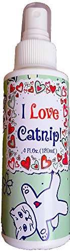 I Love Catnip! by Pet MasterMind - 4oz Liquid Catnip Spray - All Natural New Extra Potent Formula! - Made From 100% Canadian Grown Catnip!
