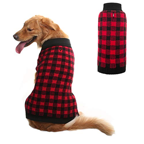 PUPTECK Dog Sweater Plaid Pet Cat Winter Knitwear Warm Clothes Red Large (Sleeping Dogs Best Outfit)