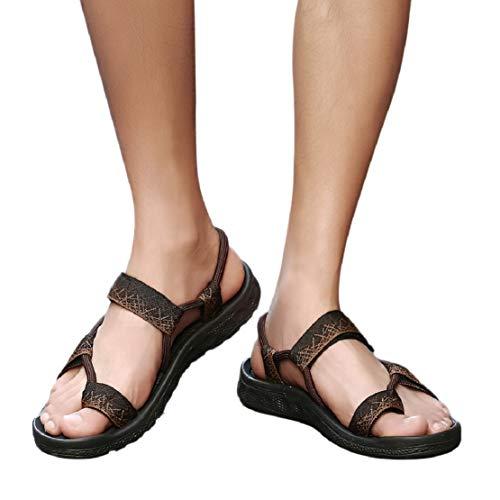 Men Summer Casual Thongs Flip Flops Slippers for Men Toe Ring Slide Sandal Beach Wear by Lowprofile Brown
