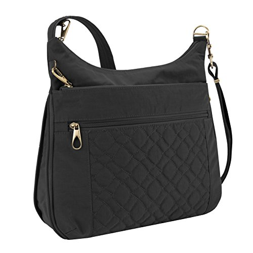 Travelon Anti-theft Signature Quilted Expansion Cross Body Bag, Black (Travelon Anti Theft Signature 3 Compartment Crossbody Black)