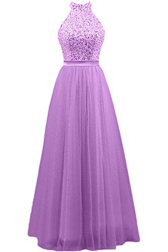 Damen Neckenholder Satin Band Lang Aermellos Missdressy Hochzeitsgast Abiball Lila Partykleider Abschlussball Kleider Abendkleider Tuell x6YUdxwq
