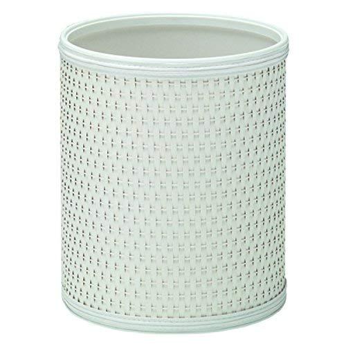 Redmon Budget Series Wicker Round Wastebasket, White